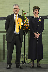 © Licensed to London News Pictures. 01/03/2013. Eastleigh, UK Liberal Democrat, Mike Thornton MP (L) wins the Eastleigh by-election pictured here with UKIP's Diane James. The voters of Eastleigh vote to choose a new MP in a by-election prompted by the resignation of former Lib Dem cabinet minister Chris Huhne. Polling will continued 22:00 GMT 28/02/13, with votes counted overnight on Thursday. There are 14 candidates in total on the ballot papers.. Photo credit : Stephen Simpson/LNP