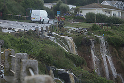 © Licensed to London News Pictures. 18/07/2017. Coverack, UK.  Water flows from road after flash floods hit Cornish village of Coverack this afternoon after heavy rainfall.  Photo credit: Ashley Hugo/LNP