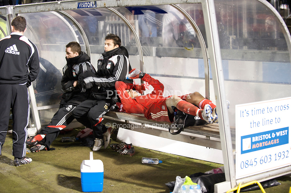 BRISTOL, ENGLAND - Thursday, January 15, 2009: Liverpool's Thomas Ince lies injured against Bristol Rovers during the FA Youth Cup match at the Memorial Stadium. (Mandatory credit: David Rawcliffe/Propaganda)