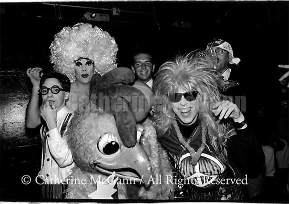 """October 17, 1990:  A group portrait of """"Club Nightmares"""" at the Limelight nightclub in New York City.  L-R:  Sebastian Jr., Angel Jack, Clara the Carefree Chicken,  Mop and Glow, Citrus Hills and Brian Schwartz."""