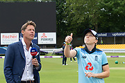 Heather Knight spins the coin at the toss before the Royal London Women's One Day International match between England Women Cricket and Australia at the Fischer County Ground, Grace Road, Leicester, United Kingdom on 2 July 2019.