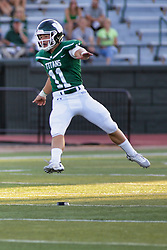 {BLOOMINGTON, IL: Patrick Tata during a college football game between the IWU Titans  and the Wheaton Thunder on September 15 2018 at Wilder Field in Tucci Stadium in Bloomington, IL. (Photo by Alan Look)