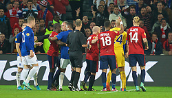 LILLE, FRANCE - Thursday, October 23, 2014: Everton and Lille OSC players clash during the UEFA Europa League Group H match at Stade Pierre-Mauroy. (Pic by David Rawcliffe/Propaganda)