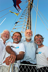 06 April 2011. St Maarten, Antilles, Caribbean.<br /> Crew of the Antiki arrive in the islands following their epic 9 week trans-Atlantic raft voyage from the Canary islands. <br /> L/R; John Russell, solicitor and UK resident, David Hildred, sailing master and British Virgin Islands resident, Anthony Smith (84 yrs old) British adventurer, Dr Andrew Bainbridge of Alberta, Canada.<br /> Photo; Charlie Varley/varleypix.com