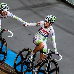 Kelly Markus en Amy Pieters worden derde op het NK koppelkoers vrouwen