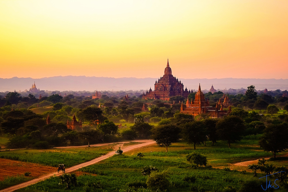 Burma October 2012 - Photograph taken at sunset capturing the magic of the Bagan landscape including its fabulous temples