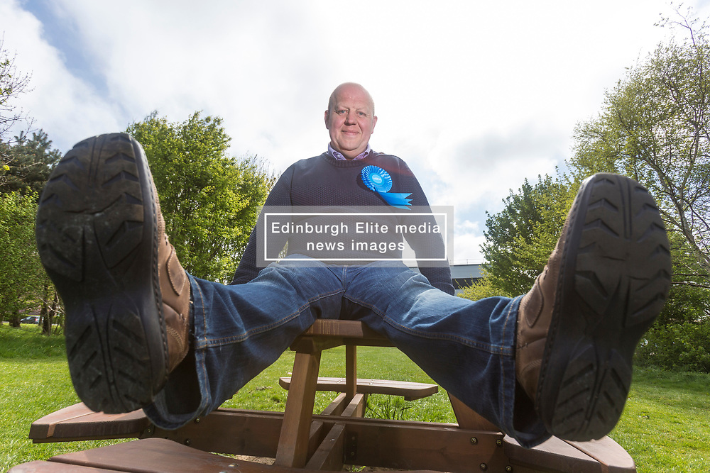 Mark Brown won Drum Brae / Gyle ward in Edinburgh for the Scotytish Conservatives after pounding the streets drumming up support from the residents.<br /> <br /> Cuddly campaigner, Brown, has proclaimed that he has walked over 500 miles during the election run in promised he would walk 500 more if he becomes the councillor at the count today<br /> <br /> Whilst he hasn't been recording his weight loss since the start of the campaign he has reduced his waist-size by two holes in his belt in the last 8 weeks of campaigning.