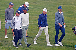 June 12, 2019 - Pebble Beach, CA, U.S. - PEBBLE BEACH, CA - JUNE 12: From left to right PGA golfers Tiger Woods and Justin Thomas and Jordan Spieth walk the 17th hole during a practice round for the 2019 US Open on June 12, 2019, at Pebble Beach Golf Links in Pebble Beach, CA. (Photo by Brian Spurlock/Icon Sportswire) (Credit Image: © Brian Spurlock/Icon SMI via ZUMA Press)