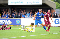 Wimbledon's Matt Tubbs goes through on keeper - photo mandatory by-line David Purday JMP- Tel: Mobile 07966 386802 - 30/08/14 - Afc Wimbledon v Stevenage - SPORT - FOOTBALL - Sky Bet Leauge 2 - London - The Cherry Red Stadium