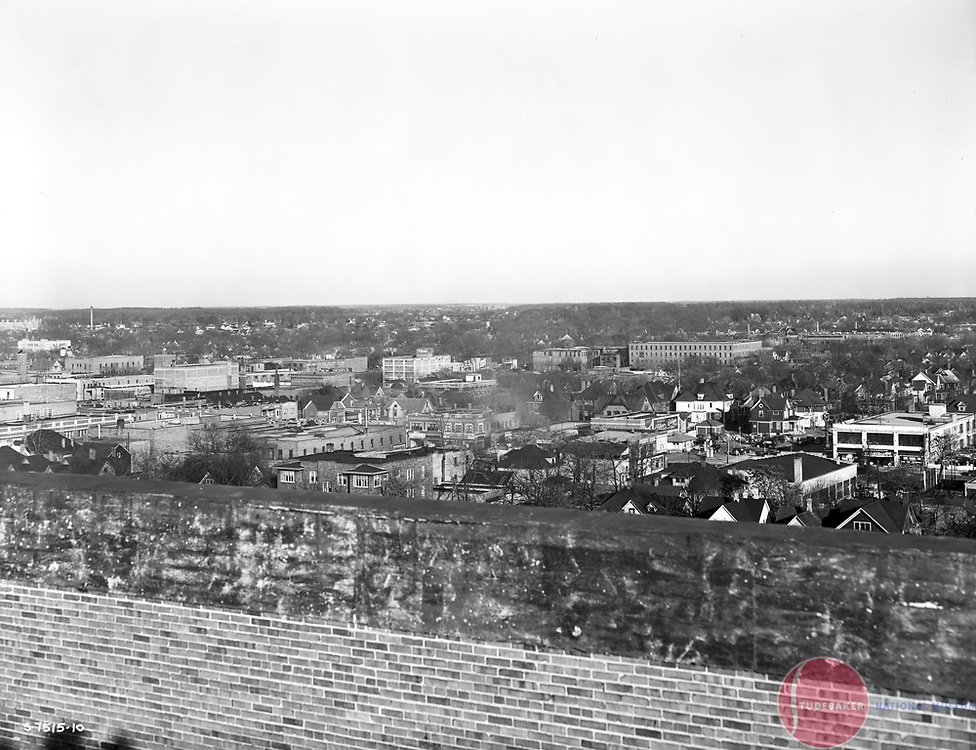 This is a 1941 image of northeast South Bend taken from the roof of Studebaker building #84.
