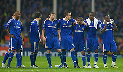 MOSCOW, RUSSIA - Wednesday, May 21, 2008: Chelsea's players look dejected during the penalty shoot-out against Manchester United during the UEFA Champions League Final at the Luzhniki Stadium. L-R: Nicolas Anelka, Ricardo Carvalho, Frank Lampard, captain John Terry, Ashley Cole, Salomon Kalou, Michael Essien. (Photo by David Rawcliffe/Propaganda)