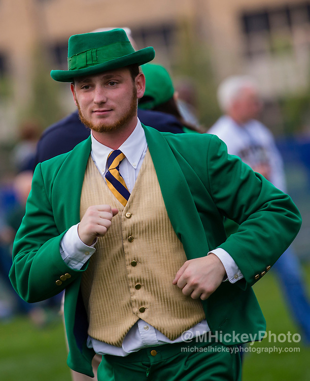 SOUTH BEND, IN - OCTOBER 15: The Notre Dame Fighting Irish Leprechaun is seen during the game against the Stanford Cardinal at Notre Dame Stadium on October 15, 2016 in South Bend, Indiana. Stanford defeated Notre Dame 17-10. (Photo by Michael Hickey/Getty Images)