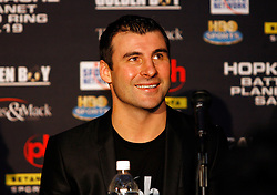 February 19, 2008; Newark, NJ, USA;  Ring Magazine Super Middleweight Champion Joe Calzaghe speaks at the press conference announcing his April 19, 2008 fight against Ring Magazine Light Heavyweight Champion Bernard Hopkins.  The two will meet for Hopkins title at the Thomas & Mack Center in Las Vegas, NV.