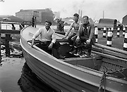 24/06/1959<br /> 06/24/1959  Lobster Fishing Boats from Carna, Galway arrive at Ringsend, Dublin. The men from Galway pose with their boat at the canal lock.