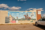 Historic Route 66, Tucumcari, New Mexico, mural, 1956 Dodge, cowboy