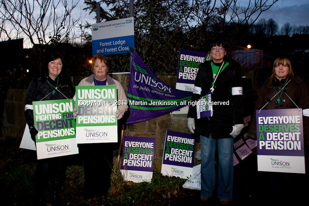 Forest Lodge and Forest Close, Unison members on the TUC Day of Action 30th November, Sheffield ..© Martin Jenkinson, tel 0114 258 6808 mobile 07831 189363 email martin@pressphotos.co.uk. Copyright Designs & Patents Act 1988, moral rights asserted credit required. No part of this photo to be stored, reproduced, manipulated or transmitted to third parties by any means without prior written permission