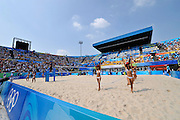 Beijing, CHINA.   Beach Volleyball - Beijing Olympic Basketball Venue,  Cheerleaders   Tuesday - 19/08/2008  [Mandatory Credit: Peter SPURRIER, Intersport Images