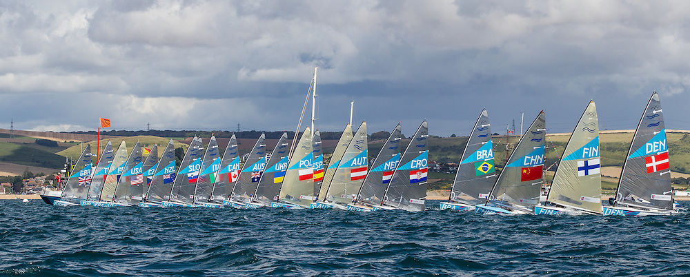 ENGLAND, Weymouth. 29th July 2012. Olympic Games. Finn class. Start Race 1.