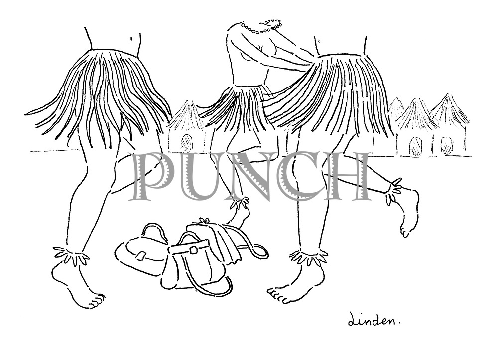 (Grass skirted women in a mud hut village dance around their handbags)