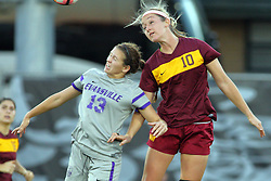 04 November 2016:  Montana Portenier & Ashley Bovee during an NCAA Missouri Valley Conference (MVC) Championship series women's semi-final soccer game between the Loyola Ramblers and the Evansville Purple Aces on Adelaide Street Field in Normal IL