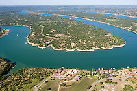 Lake Travis aerial photography, confluence of the Perdenales and Colorado River near Austin, Texas.