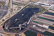 Baltimore aerial photography of the CNX Coal Terminal in Baltimore Patapsco River