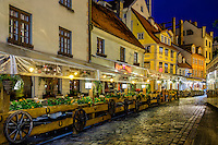 RIGA, LATVIA - CIRCA MAY 2014: View of street in Old Town Riga at night.