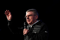 Thomas Bach, President of the International Olympic Committee addresses the closing ceremony for the Lillehammer 2016 Winter Youth Olympic Games in Lillehammer, Norway on Feb. 21, 2016. EXPA Pictures © 2016, PhotoCredit: EXPA/ Photoshot/ Han Yan<br />