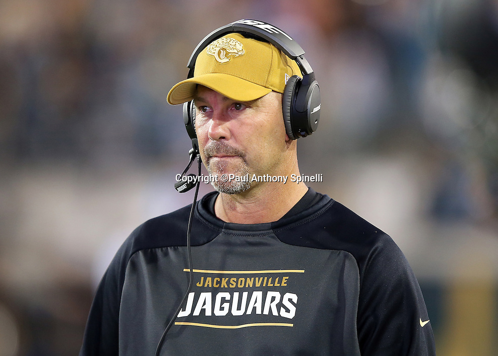 Jacksonville Jaguars head coach Gus Bradley looks on from the sideline during the 2015 week 11 regular season NFL football game against the Tennessee Titans on Thursday, Nov. 19, 2015 in Jacksonville, Fla. The Jaguars won the game 19-13. (©Paul Anthony Spinelli)