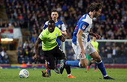 Junior Morias of Peterborough United takes on Charlie Mulgrew of Blackburn Rovers - Mandatory by-line: Joe Dent/JMP - 19/04/2018 - FOOTBALL - Ewood Park - Blackburn, England - Blackburn Rovers v Peterborough United - Sky Bet League One