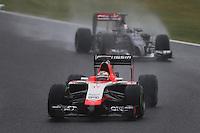Jules Bianchi (FRA) Marussia F1 Team MR03 leads Adrian Sutil (GER) Sauber C33.<br /> Japanese Grand Prix, Sunday 5th October 2014. Suzuka, Japan.