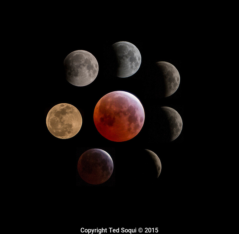 "Lunar eclipse shot from Los Angeles. This is the third of a tetrad of four lunar eclipses. The moon receives a reddish cast during the eclipse due to the Earth's atmosphere, the sun's light is filtered and cast during full umbra. This effect is called a ""blood moon"" and is subject of ancient folklore."