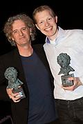 Uitreiking van de Annie  M.G. Schmidtprijs 2012 in het Amsterdamse Theater Bellevue.<br /> <br /> Op de foto: Jan Beuving  en Nico Brandsen winnaars Annie M.G. Schmidtprijs 2012
