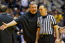 Jan 18, 2017; Morgantown, WV, USA; West Virginia Mountaineers head coach Bob Huggins argues a call during the second half against the Oklahoma Sooners at WVU Coliseum. Mandatory Credit: Ben Queen-USA TODAY Sports