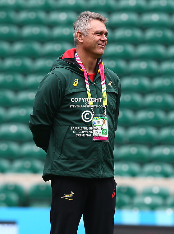 LONDON, ENGLAND - OCTOBER 16: Heyneke Meyer (Head Coach) of South Africa during the South African national rugby team Captains Run and media conference at Twickenham Stadium on October 16, 2015 in London, England. (Photo by Steve Haag/Gallo Images)
