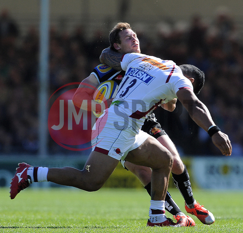 Exeter Chiefs Will Chudley is tackled by Sale Sharks Johnny Leota which resulted in a yellow card and sin-binned for 10 minutes. Photo mandatory by-line: Harry Trump/JMP - Mobile: 07966 386802 - 16/05/15 - SPORT - RUGBY - Aviva Premiership - Exeter Chiefs v Sale Sharks - Sandy Park, Exeter, England.