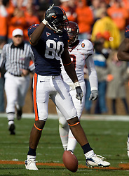 Virginia wide receiver Maurice Covington (80) celebrates after making a first down pass reception.  The #8 ranked Virginia Tech Hokies defeated the #16 ranked Virginia Cavaliers 33-21 at Scott Stadium in Charlottesville, VA on November 24, 2007.