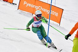 PERRINE Melissa B2 AUS Guide: GEIGER Christian competing in the ParaSkiAlpin, Para Alpine Skiing, Slalom at the PyeongChang2018 Winter Paralympic Games, South Korea.