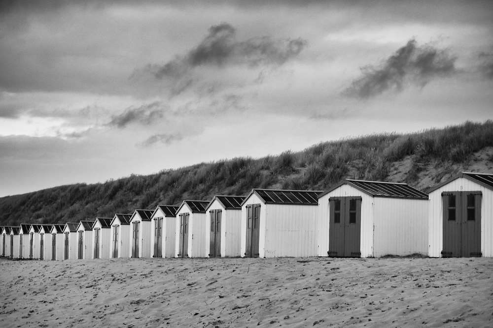 Closed for the evening, the huts await tomorrow's crowds.