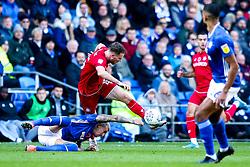 Marley Watkins of Bristol City takes on Aden Flint of Cardiff City - Mandatory by-line: Robbie Stephenson/JMP - 10/11/2019 -  FOOTBALL - Cardiff City Stadium - Cardiff, Wales -  Cardiff City v Bristol City - Sky Bet Championship