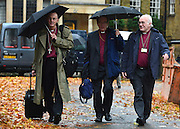 © Licensed to London News Pictures. 21/11/2012. westminster, UK Bishops arriving arriving at Church House in Westminster, London for day three of the three-day Church of England General Synod. Members last night voted against ordaining women as priests.. Photo credit : Stephen Simpson/LNP