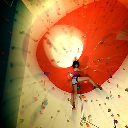 Itsaso Basozabal posing for a photo shoot in Cardiff's indoor gymn, Boulders.