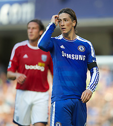 LONDON, ENGLAND - Saturday, August 20, 2011: Chelsea's Fernando Torres in action against West Bromwich Albion during the Premiership match at Stamford Bridge. (Pic by David Rawcliffe/Propaganda)