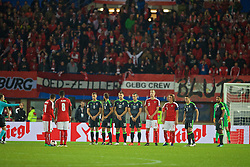 VIENNA, AUSTRIA - Thursday, October 6, 2016: Wales' Andy King, Joe Ledley, Sam Vokes and Gareth Bale prepare to defend an Austria free-kick during the 2018 FIFA World Cup Qualifying Group D match at the Ernst-Happel-Stadion. (Pic by David Rawcliffe/Propaganda)