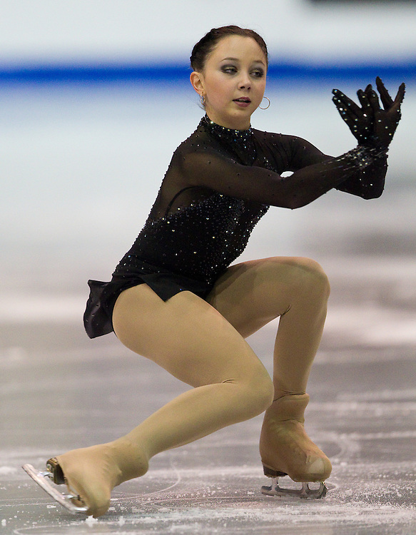 GJR333 -20111028- Mississauga, Ontario,Canada-  Elizaveta Tuktamisheva of Russia skates her short program at Skate Canada International, October 28, 2011.<br /> AFP PHOTO/Geoff Robins