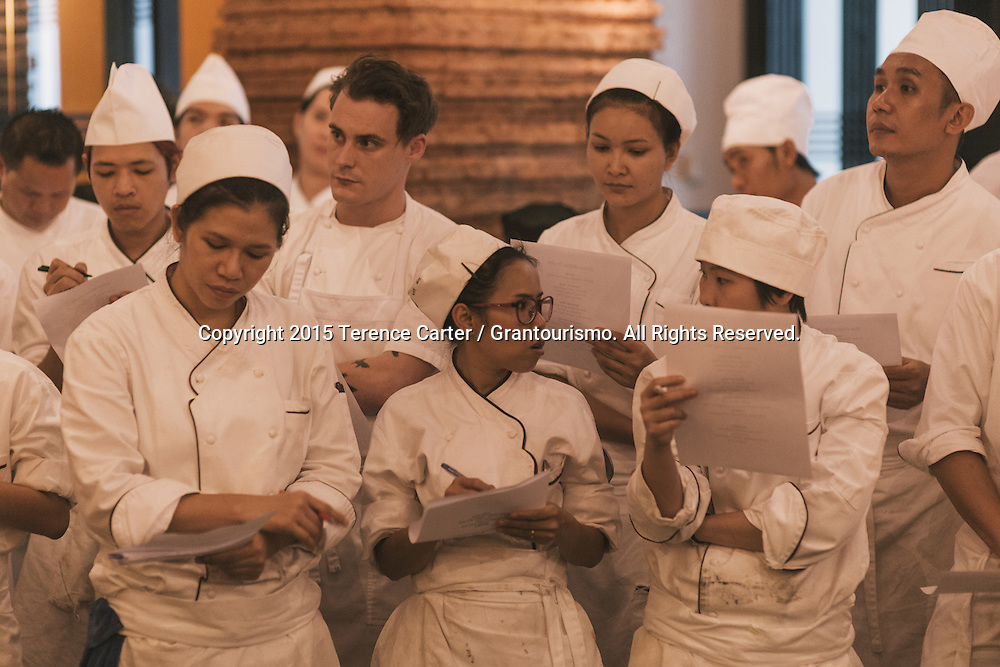 As the chefs run through the entire menu, the Nahm chefs make notes about the dishes. Many of the young chefs said later that this was the highlight of their career so far. Copyright 2015 Terence Carter / Grantourismo. All Rights Reserved.