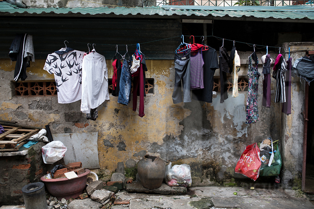 Clothesline outside of a dwelling in a  low-income neighbourhood, Ho Chi Minh city, Vietnam, Southeast Asia