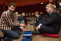 repro free: Galway Gamelan Experience at the Rowning Club where Jon Reynolds  gave Cllr Frank Fahy Mayor of Galway City a musical magic of the Gamelan- a traditional Indonesian orchestral Instrument .<br />  Photo:Andrew Downes, xposure