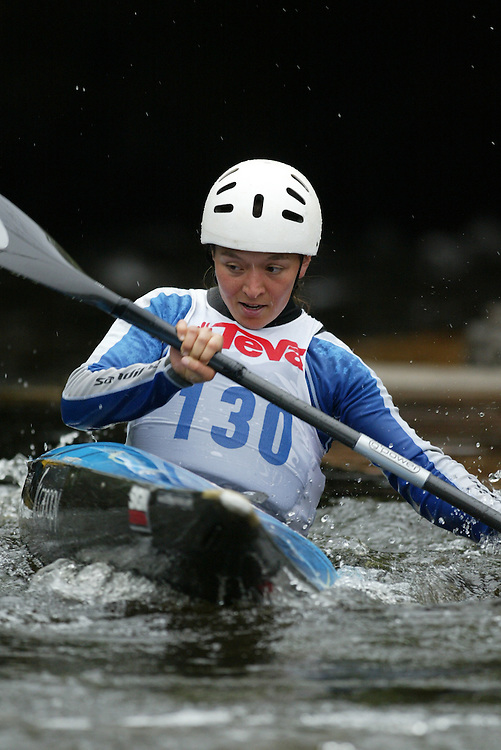 (Ottawa, Ontario---29/05/09)  Sara POTVIN-BERNAL competing in the second run of the  K1  Women class at the 2009 Canadian Whitewater Slalom National Team Trials.. The CanoeKayak Canada championship race for canoes and kayaks was held at the Pump House course in Ottawa and was hosted by the Ottawa River Runners. The event ran from 29-31 May 2009. Copyright photograph Sean Burges / Mundo Sport Images, 2009. www.mundosportimages.com / www.msievents.