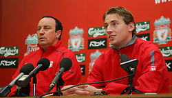 LIVERPOOL, ENGLAND - THURSDAY, JANUARY 5th, 2006: Liverpool's new signing Jan Kromkamp with manager Rafael Benitez at a press conference at Melwood Training Ground. Jan Kromkamp switches from Villarreal with Josemi going to Spain. (Pic by David Rawcliffe/Propaganda)
